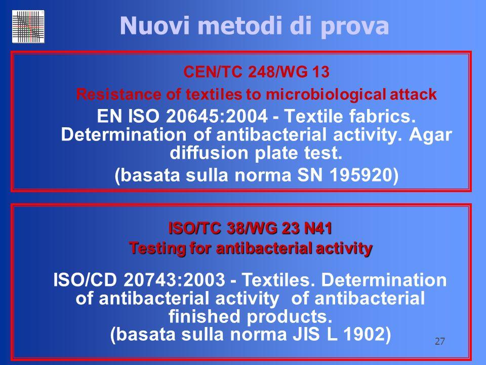 27 Nuovi metodi di prova CEN/TC 248/WG 13 Resistance of textiles to microbiological attack EN ISO 20645:2004 - Textile fabrics. Determination of antib
