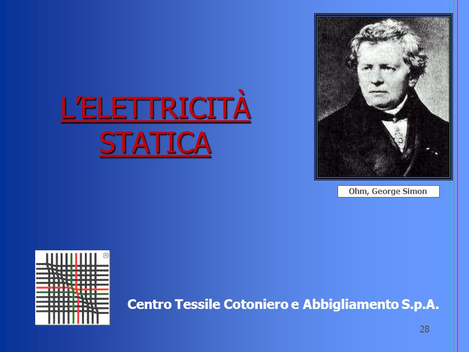 28 LELETTRICITÀ STATICA Centro Tessile Cotoniero e Abbigliamento S.p.A. Ohm, George Simon