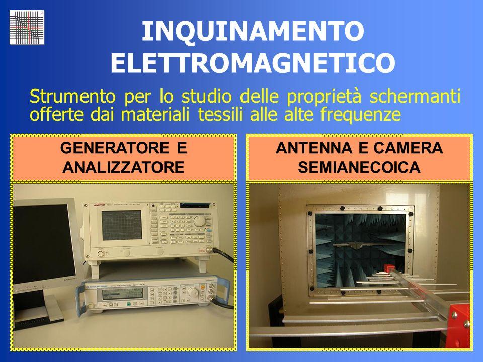 36 INQUINAMENTO ELETTROMAGNETICO Strumento per lo studio delle proprietà schermanti offerte dai materiali tessili alle alte frequenze GENERATORE E ANA