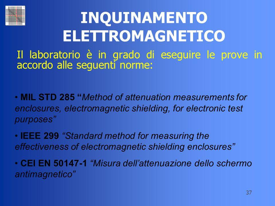 37 INQUINAMENTO ELETTROMAGNETICO Il laboratorio è in grado di eseguire le prove in accordo alle seguenti norme: MIL STD 285 Method of attenuation meas
