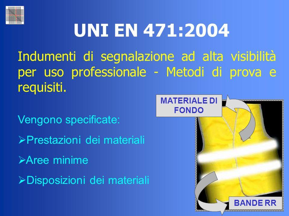 39 UNI EN 471:2004 Indumenti di segnalazione ad alta visibilità per uso professionale - Metodi di prova e requisiti. Vengono specificate: Prestazioni