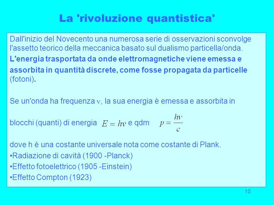 10 La 'rivoluzione quantistica' Dall'inizio del Novecento una numerosa serie di osservazioni sconvolge l'assetto teorico della meccanica basato sul du