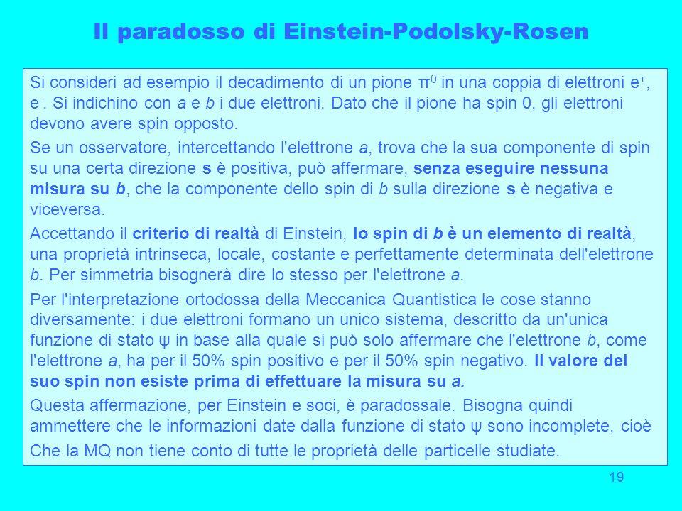 19 Il paradosso di Einstein-Podolsky-Rosen Si consideri ad esempio il decadimento di un pione π 0 in una coppia di elettroni e +, e -. Si indichino co