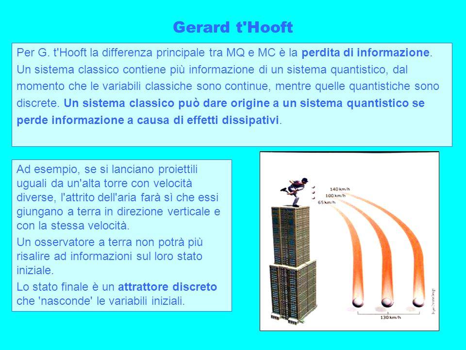 26 Gerard t'Hooft Per G. t'Hooft la differenza principale tra MQ e MC è la perdita di informazione. Un sistema classico contiene più informazione di u