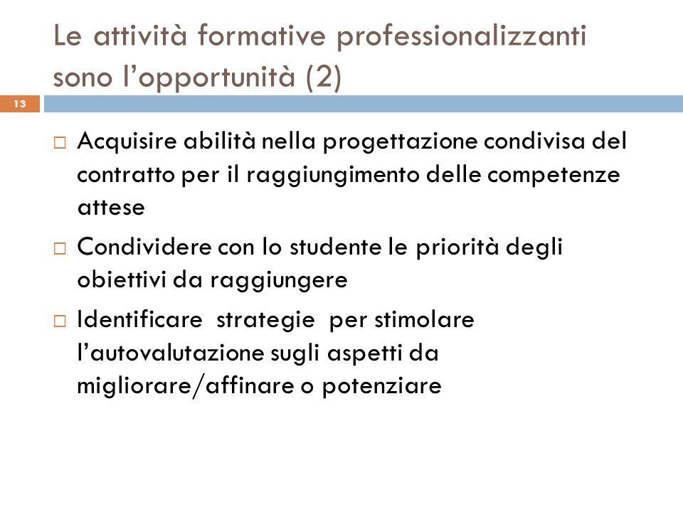 Le attività formative professionalizzanti sono lopportunità (2) Acquisire abilità nella progettazione condivisa del contratto per il raggiungimento de