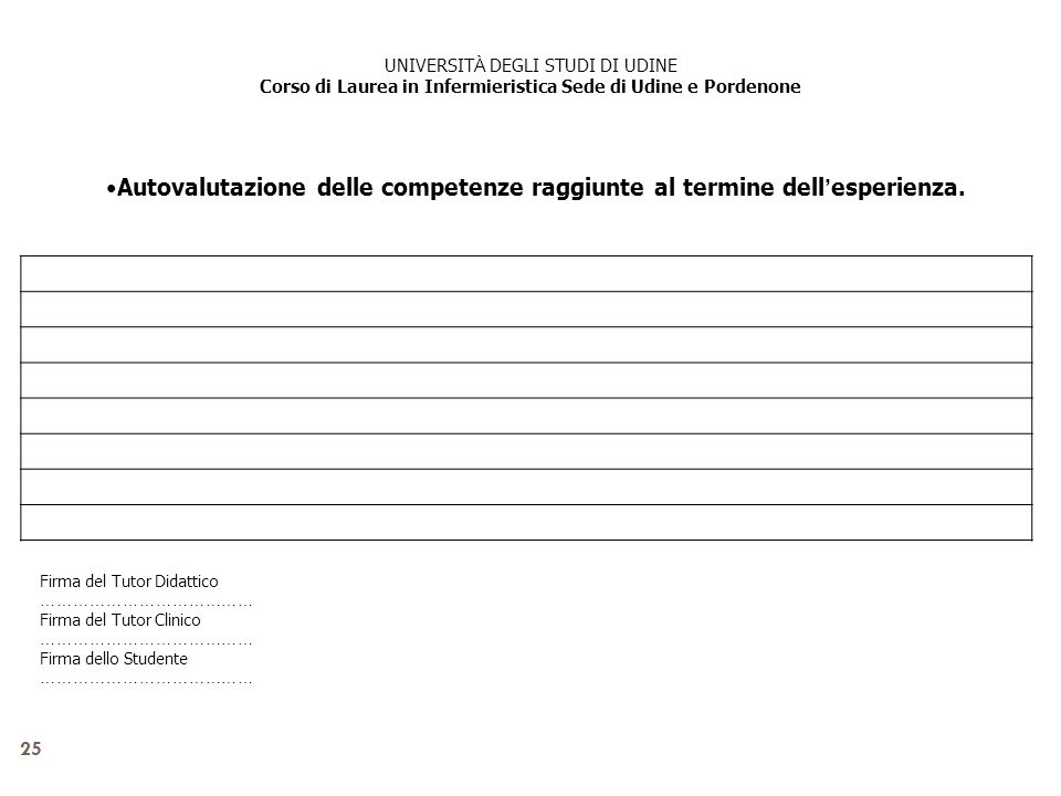 25 Autovalutazione delle competenze raggiunte al termine dell esperienza. Firma del Tutor Didattico ………………………………… Firma del Tutor Clinico ………………………………