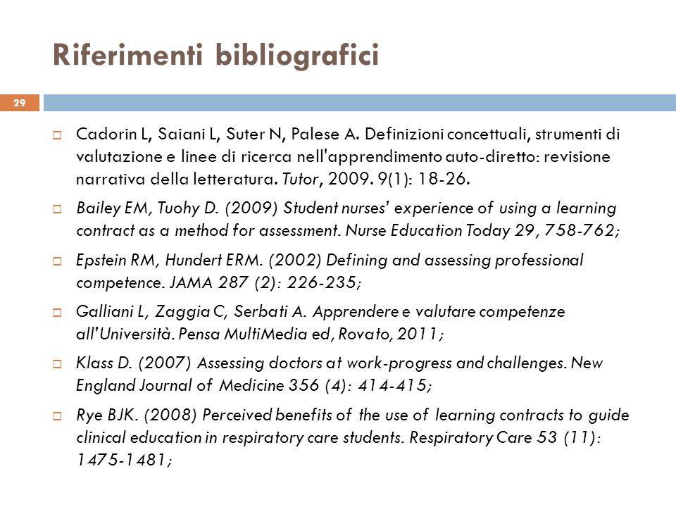 Riferimenti bibliografici Cadorin L, Saiani L, Suter N, Palese A. Definizioni concettuali, strumenti di valutazione e linee di ricerca nell'apprendime