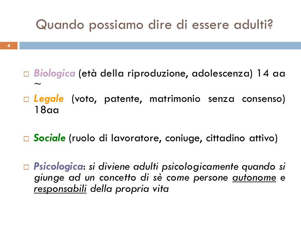 4 Quando possiamo dire di essere adulti? Biologica (età della riproduzione, adolescenza) 14 aa ~ Legale (voto, patente, matrimonio senza consenso) 18a