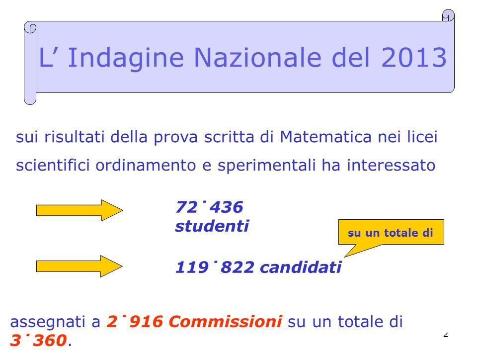 2 sui risultati della prova scritta di Matematica nei licei scientifici ordinamento e sperimentali ha interessato L Indagine Nazionale del 2013 assegn