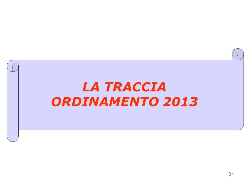 21 LA TRACCIA ORDINAMENTO 2013