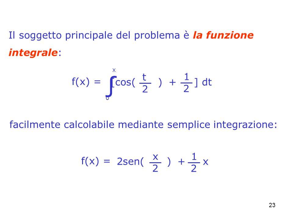 23 facilmente calcolabile mediante semplice integrazione: Il soggetto principale del problema è la funzione integrale: f(x) = 0 x t 2 [cos( ) + ] dt 1