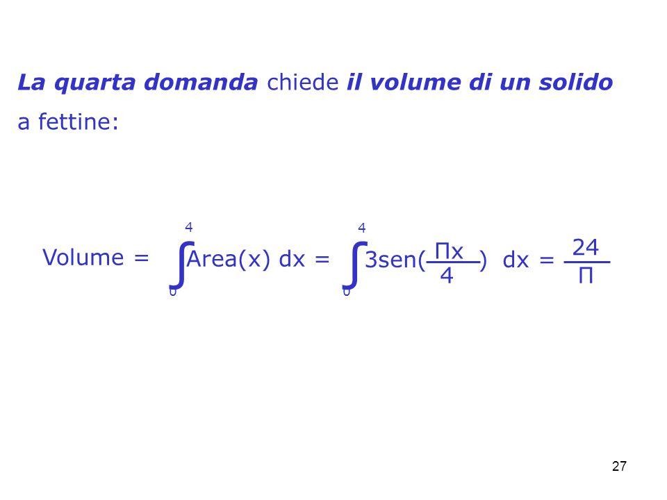 27 La quarta domanda chiede il volume di un solido a fettine: Volume = 0 4 ΠxΠx 4 3sen( ) dx = 24 Π Area(x) dx = 0 4