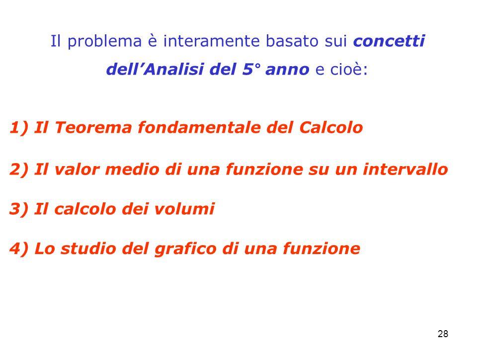 28 Il problema è interamente basato sui concetti dellAnalisi del 5° anno e cioè: 1) Il Teorema fondamentale del Calcolo 2) Il valor medio di una funzi