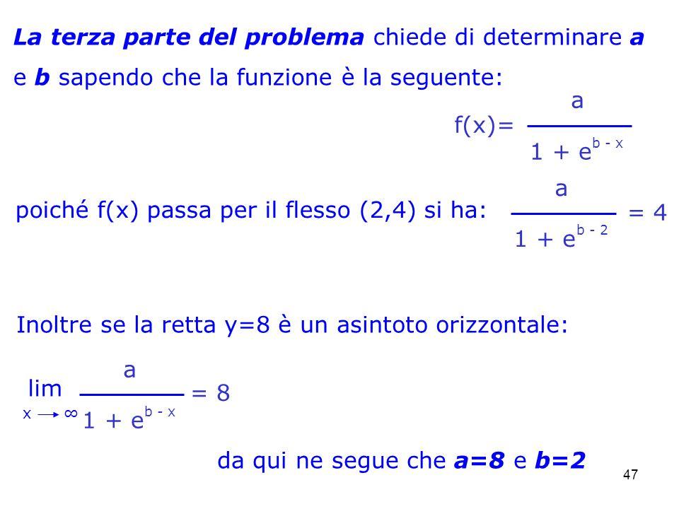 47 La terza parte del problema chiede di determinare a e b sapendo che la funzione è la seguente: poiché f(x) passa per il flesso (2,4) si ha: a = 4 1