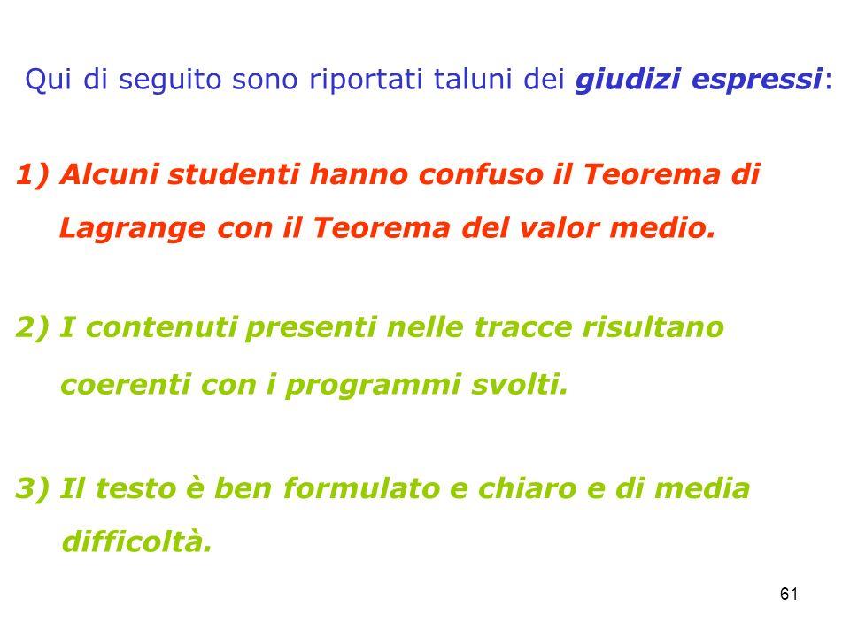 61 1) Alcuni studenti hanno confuso il Teorema di 2) I contenuti presenti nelle tracce risultano 3) Il testo è ben formulato e chiaro e di media Qui d