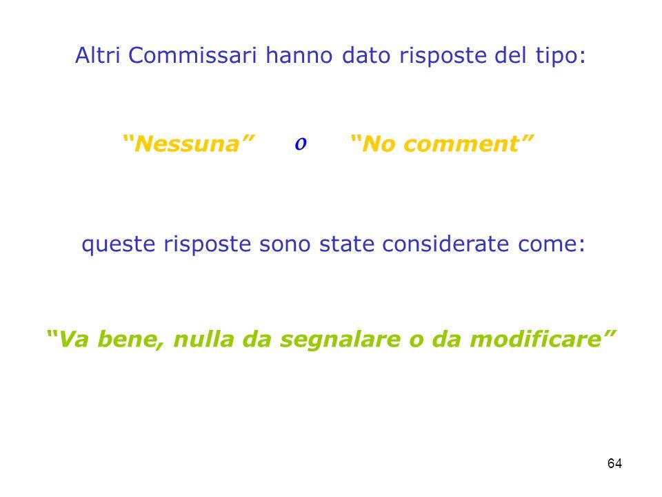 64 Altri Commissari hanno dato risposte del tipo: queste risposte sono state considerate come: NessunaNo comment o Va bene, nulla da segnalare o da mo