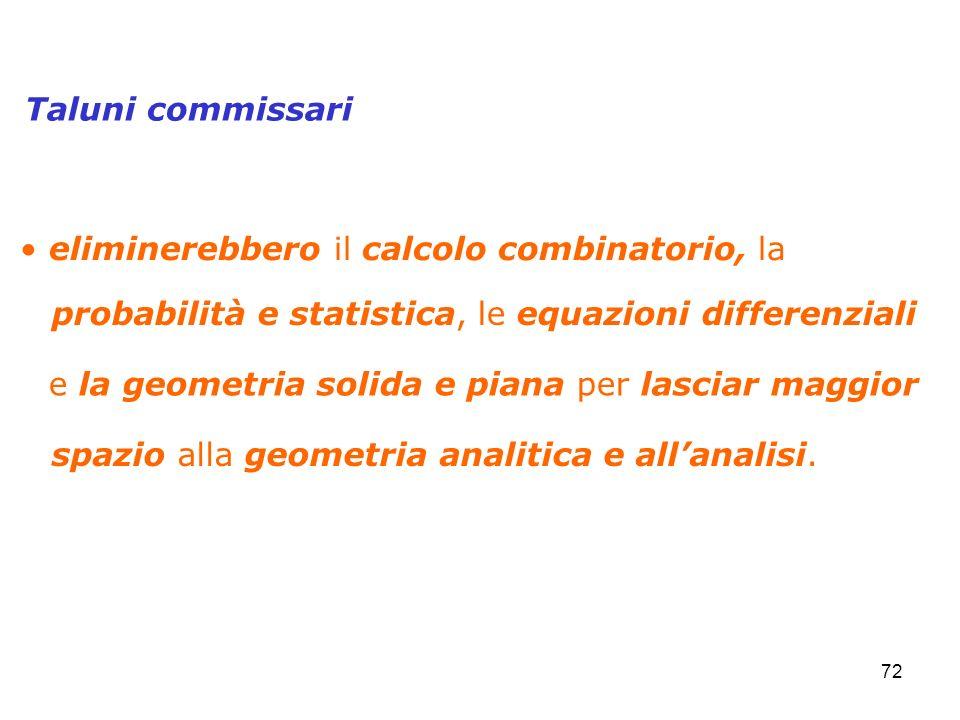 72 eliminerebbero il calcolo combinatorio, la Taluni commissari spazio alla geometria analitica e allanalisi. probabilità e statistica, le equazioni d