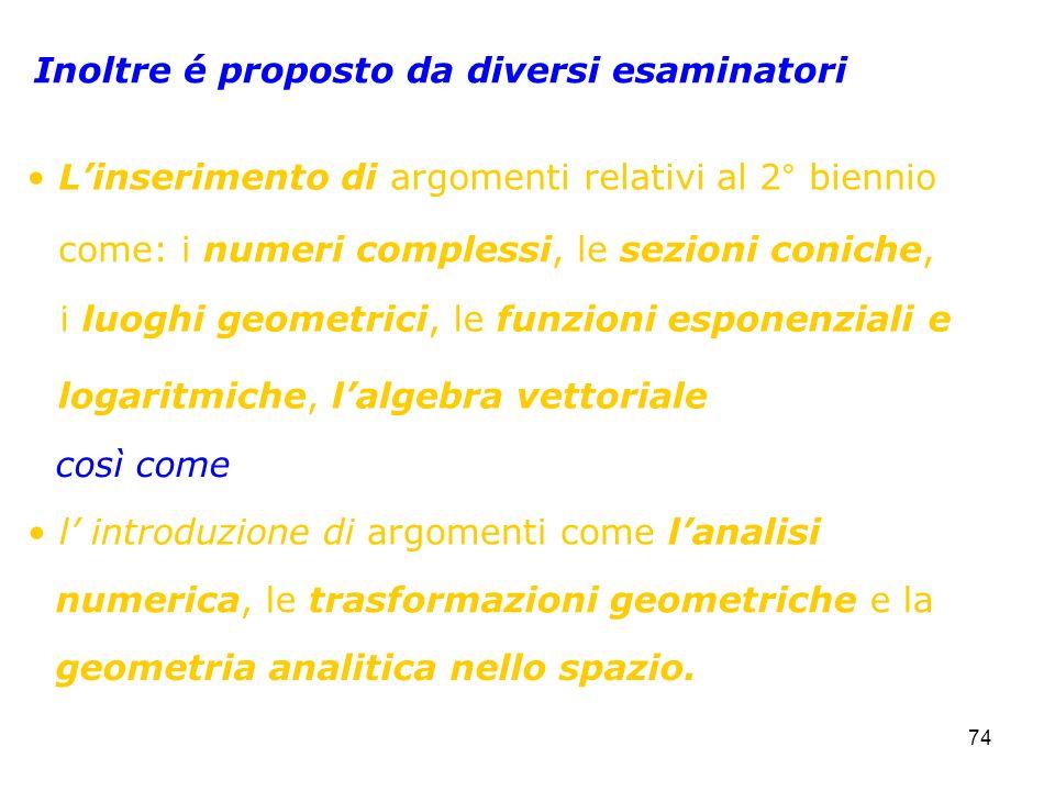 74 Inoltre é proposto da diversi esaminatori Linserimento di argomenti relativi al 2° biennio l introduzione di argomenti come lanalisi logaritmiche,