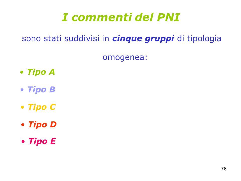 76 I commenti del PNI sono stati suddivisi in cinque gruppi di tipologia Tipo A Tipo B Tipo C Tipo D Tipo E omogenea: