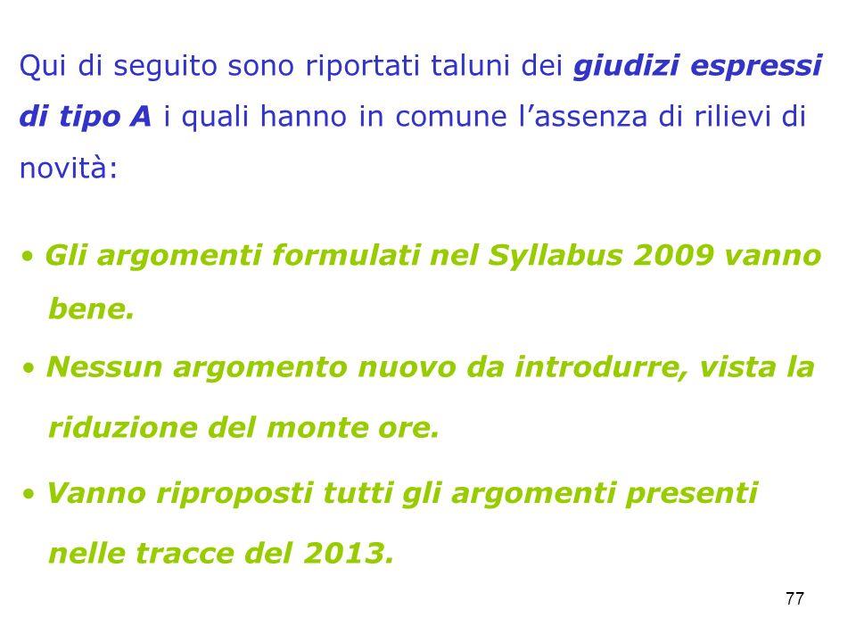 77 Gli argomenti formulati nel Syllabus 2009 vanno Qui di seguito sono riportati taluni dei giudizi espressi di tipo A i quali hanno in comune lassenz