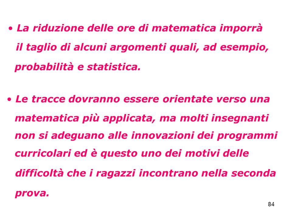84 La riduzione delle ore di matematica imporrà il taglio di alcuni argomenti quali, ad esempio, probabilità e statistica. Le tracce dovranno essere o