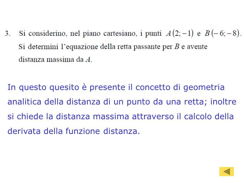 89 In questo quesito è presente il concetto di geometria analitica della distanza di un punto da una retta; inoltre si chiede la distanza massima attr
