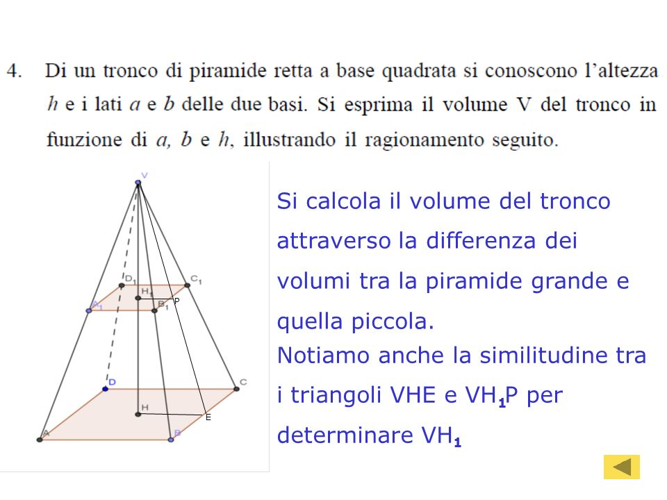 90 E P Si calcola il volume del tronco attraverso la differenza dei volumi tra la piramide grande e quella piccola.