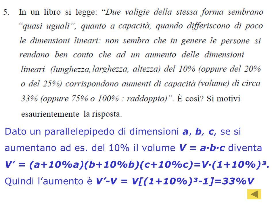 91 Dato un parallelepipedo di dimensioni a, b, c, se si aumentano ad es. del 10% il volume V = abc diventa V = (a+10%a)(b+10%b)(c+10%c)=V(1+10%)³. Qui