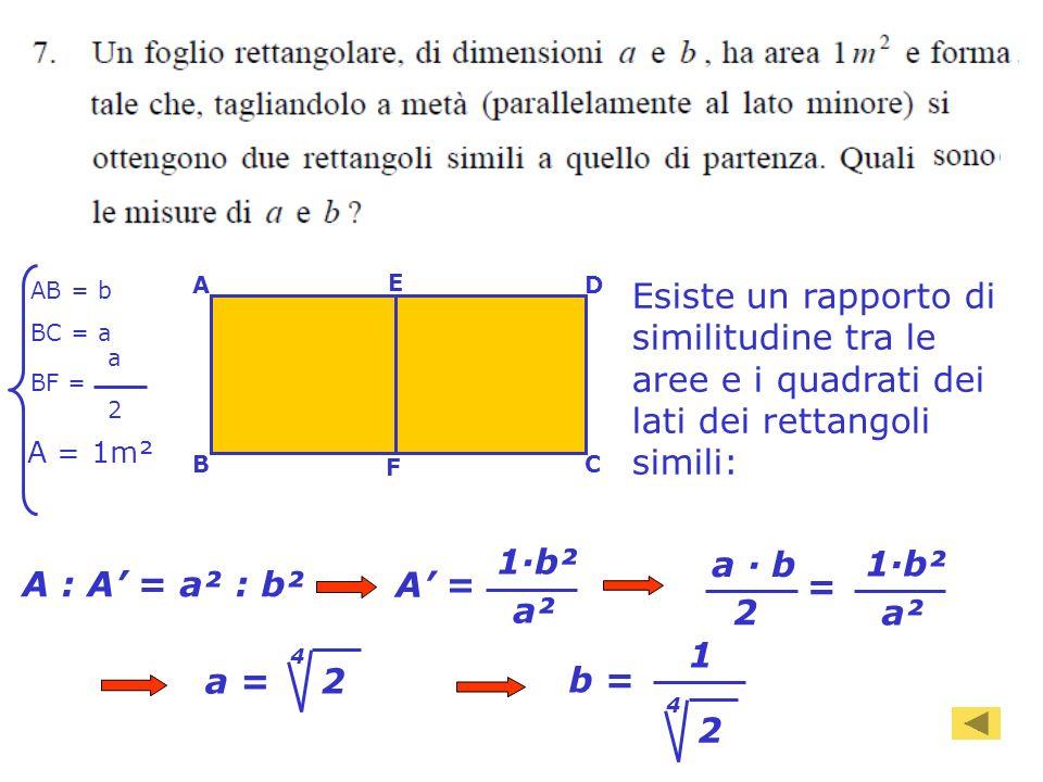 93 AB = b BC = a BF = a 2 A BC D F E Esiste un rapporto di similitudine tra le aree e i quadrati dei lati dei rettangoli simili: A : A = a² : b² A = a