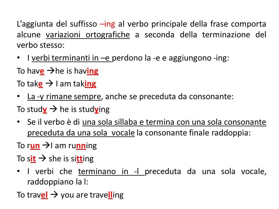 Laggiunta del suffisso –ing al verbo principale della frase comporta alcune variazioni ortografiche a seconda della terminazione del verbo stesso: I v