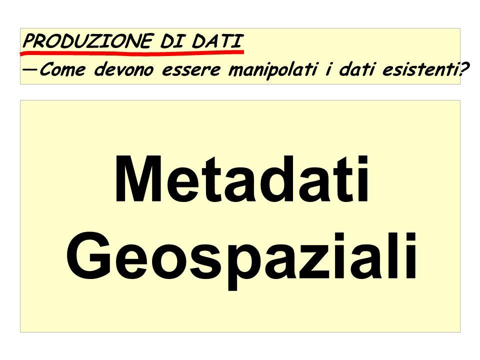 PRODUZIONE DI DATI Come devono essere manipolati i dati esistenti? Metadati Geospaziali