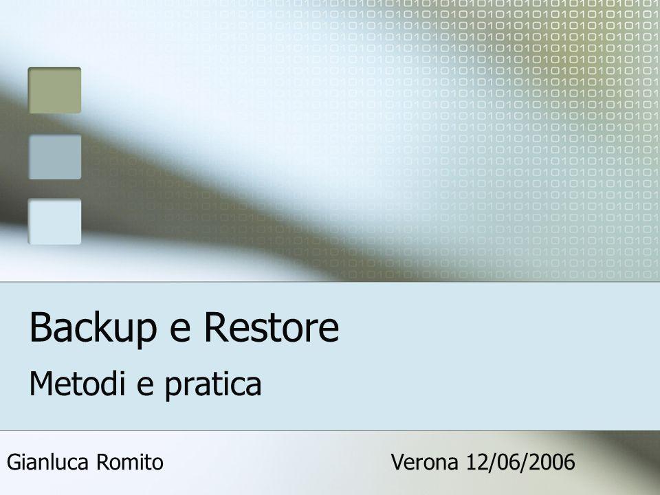 Backup e Restore Metodi e pratica Verona 12/06/2006Gianluca Romito