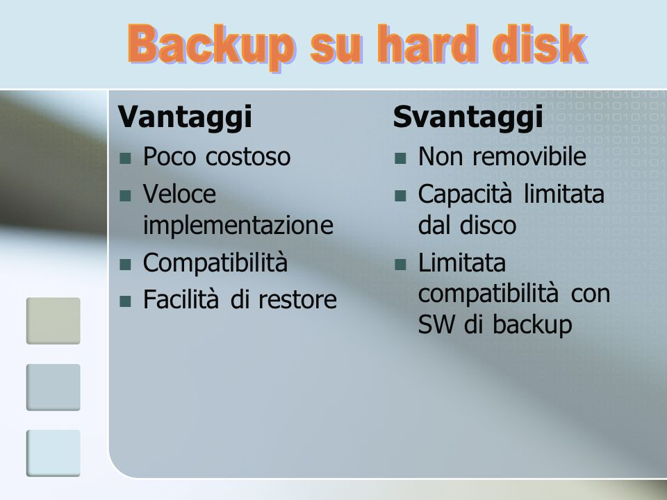 Vantaggi Poco costoso Veloce implementazione Compatibilità Facilità di restore Svantaggi Non removibile Capacità limitata dal disco Limitata compatibi