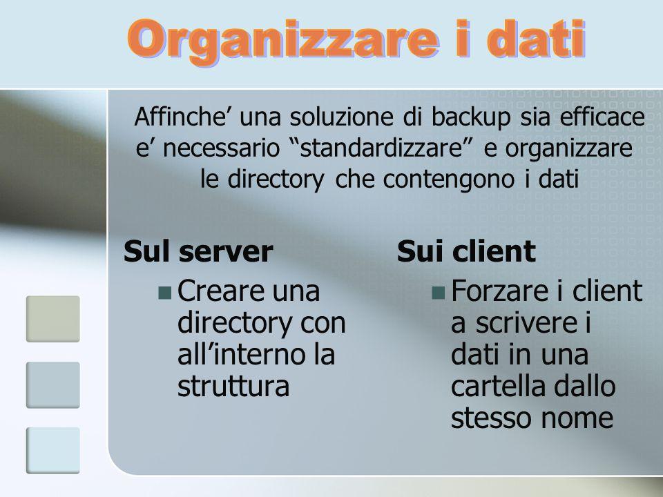 Sul server Creare una directory con allinterno la struttura Sui client Forzare i client a scrivere i dati in una cartella dallo stesso nome Affinche u