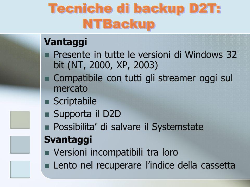 Vantaggi Presente in tutte le versioni di Windows 32 bit (NT, 2000, XP, 2003) Compatibile con tutti gli streamer oggi sul mercato Scriptabile Supporta