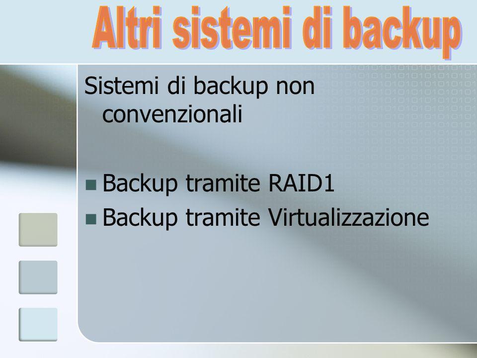 Sistemi di backup non convenzionali Backup tramite RAID1 Backup tramite Virtualizzazione