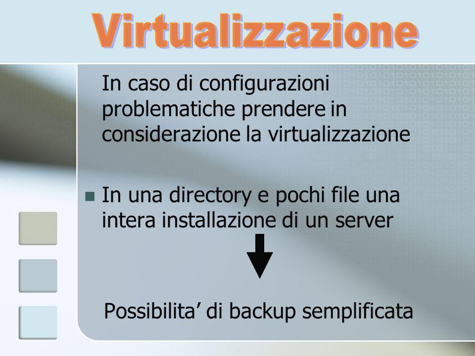 In caso di configurazioni problematiche prendere in considerazione la virtualizzazione In una directory e pochi file una intera installazione di un se