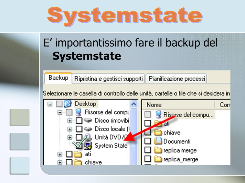 E importantissimo fare il backup del Systemstate