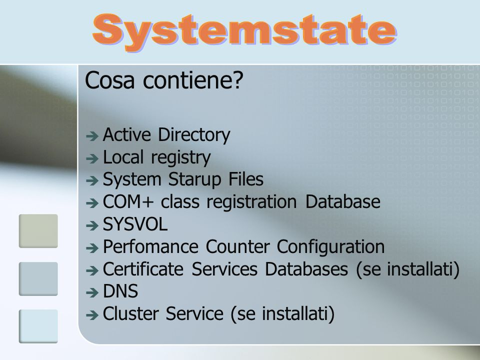 Cosa contiene? Active Directory Local registry System Starup Files COM+ class registration Database SYSVOL Perfomance Counter Configuration Certificat