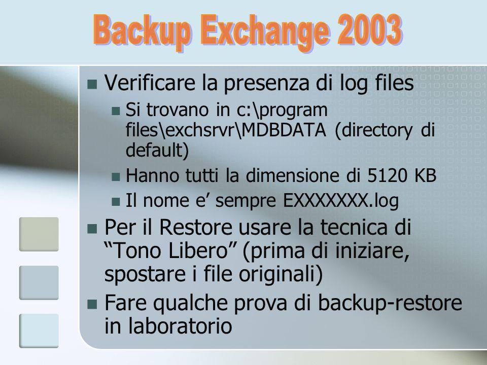 Verificare la presenza di log files Si trovano in c:\program files\exchsrvr\MDBDATA (directory di default) Hanno tutti la dimensione di 5120 KB Il nom