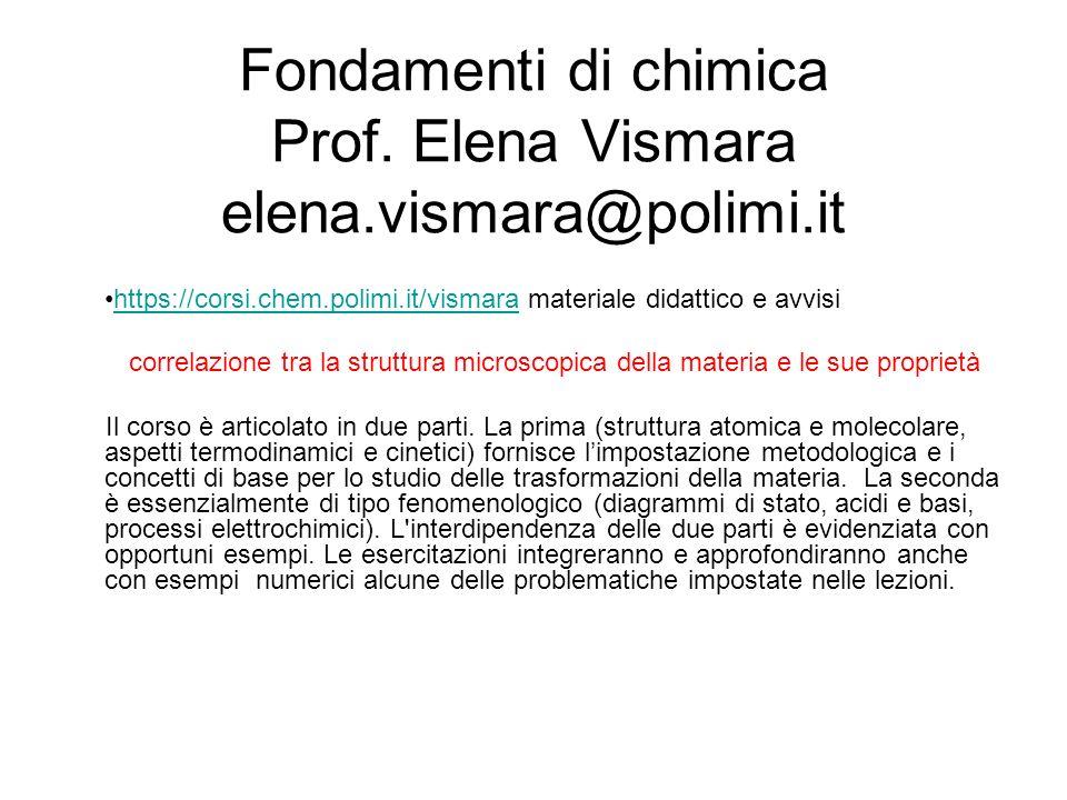 Fondamenti di chimica Prof.