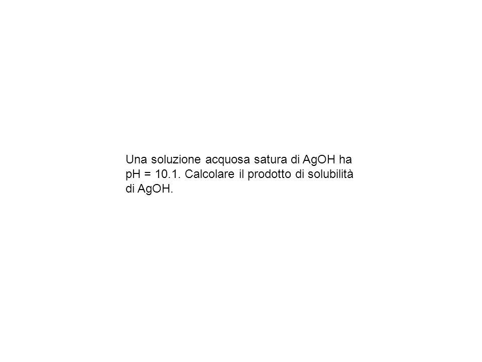 Una soluzione acquosa satura di AgOH ha pH = 10.1. Calcolare il prodotto di solubilità di AgOH.