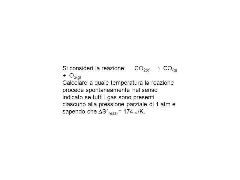 Si consideri la reazione: CO 2(g) CO (g) + O 2(g) Calcolare a quale temperatura la reazione procede spontaneamente nel senso indicato se tutti i gas sono presenti ciascuno alla pressione parziale di 1 atm e sapendo che S° reaz.= 174 J/K.