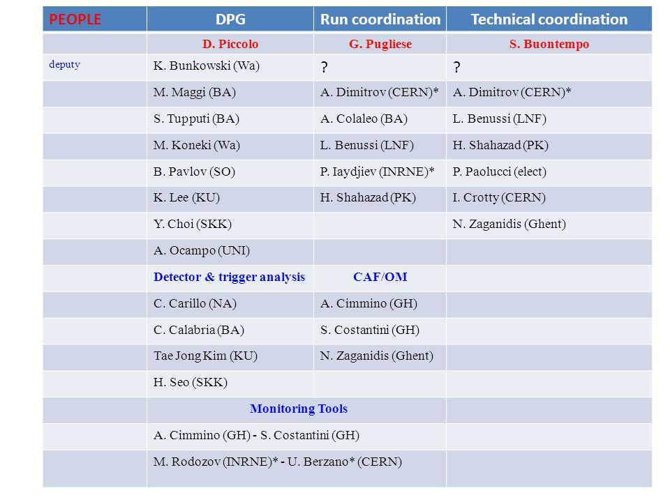 TASKSDPGRun coordinationTechnical coordination D.PiccoloG.