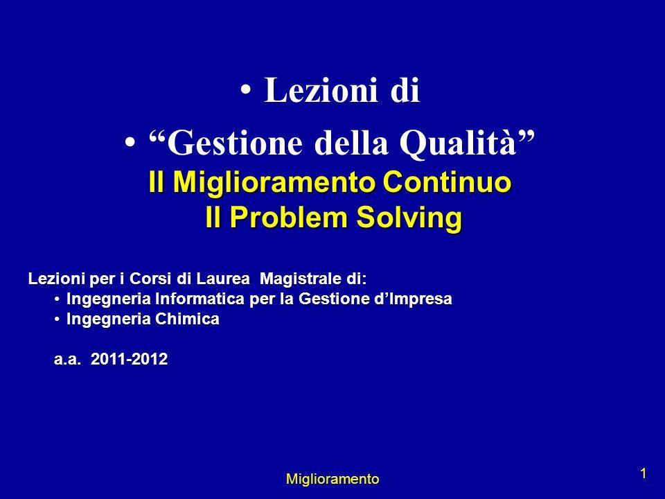 Miglioramento 1 Lezioni di Gestione della Qualità Il Miglioramento Continuo Il Problem Solving Il Problem Solving Lezioni per i Corsi di Laurea Magist