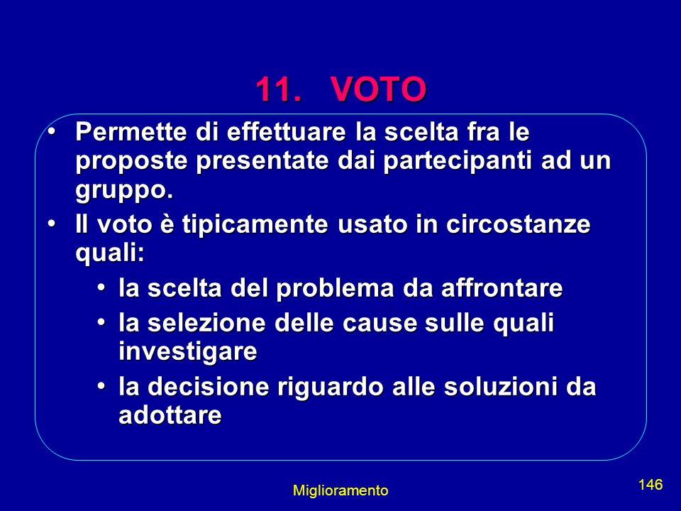 Miglioramento 146 11. VOTO Permette di effettuare la scelta fra le proposte presentate dai partecipanti ad un gruppo. Permette di effettuare la scelta