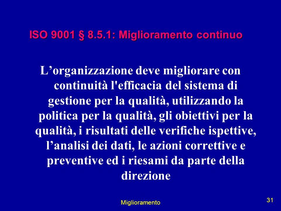 Miglioramento 31 ISO 9001 § 8.5.1: Miglioramento continuo Lorganizzazione deve migliorare con continuità l'efficacia del sistema di gestione per la qu