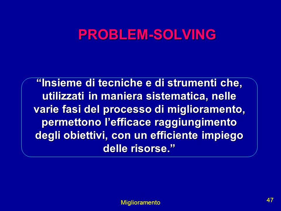 Miglioramento 47 PROBLEM-SOLVING PROBLEM-SOLVING Insieme di tecniche e di strumenti che, utilizzati in maniera sistematica, nelle varie fasi del proce