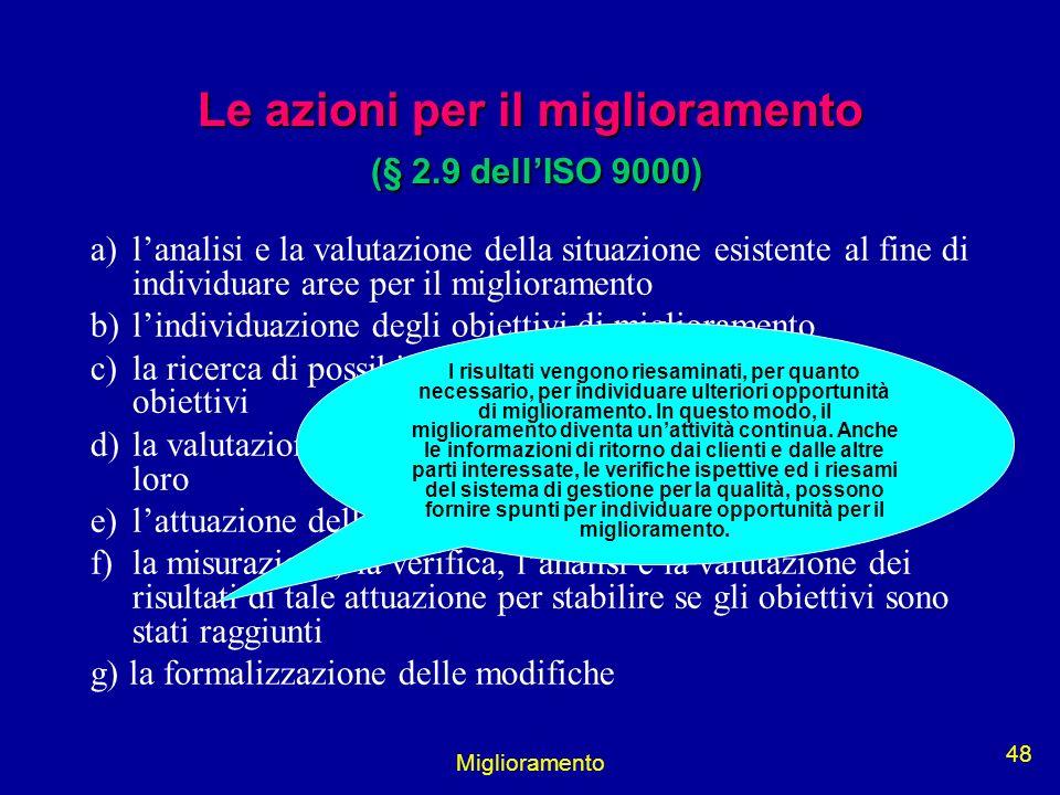 Miglioramento 48 Le azioni per il miglioramento (§ 2.9 dellISO 9000) a)lanalisi e la valutazione della situazione esistente al fine di individuare are