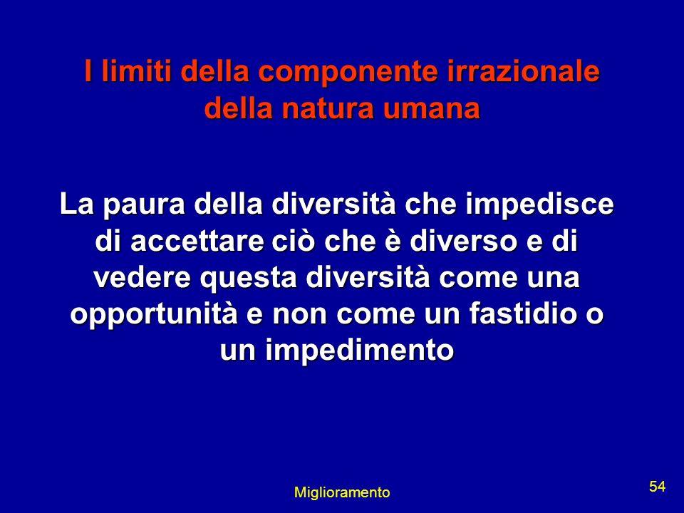 Miglioramento 54 I limiti della componente irrazionale della natura umana La paura della diversità che impedisce di accettare ciò che è diverso e di v
